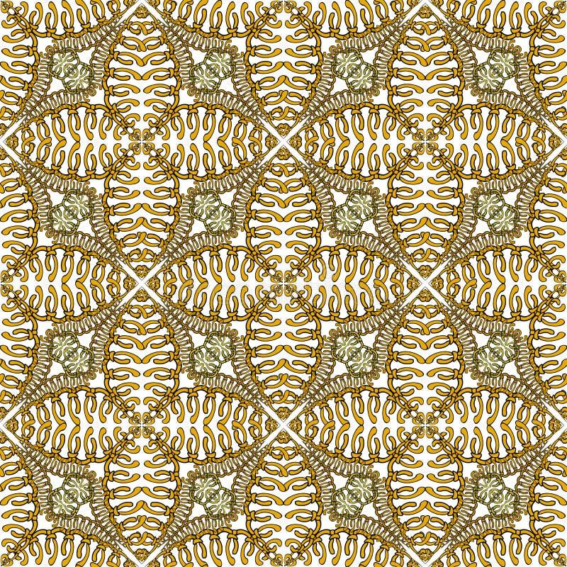 Bloemenabstracr naadloos patroon Sier uitstekende achtergrond Gebreid bloemenornament Ethncstijl ge?soleerd ontwerp op wit stock illustratie