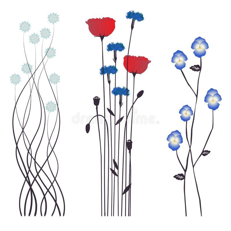 Bloemenachtergrond, bloeiende bloemen vector illustratie