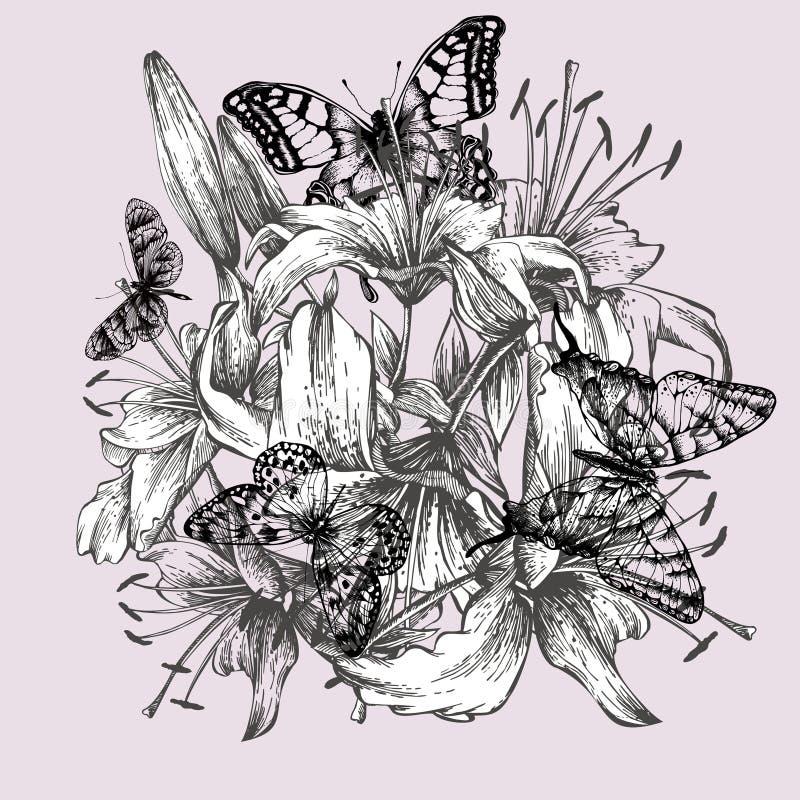 Bloemenachtergrond met lelies en zwarte butterflie vector illustratie
