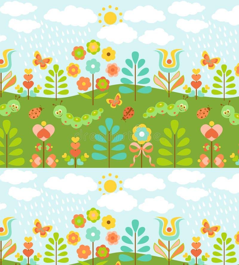 Bloemenachtergrond met leuke onzelieveheersbeestjes stock illustratie