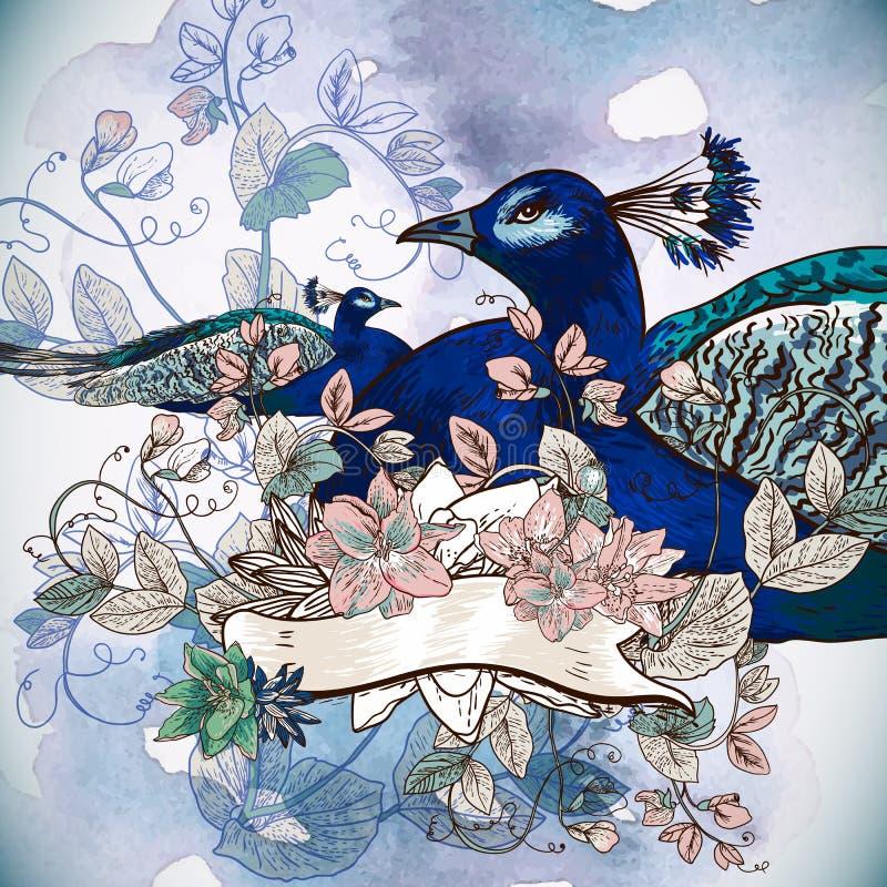 Bloemenachtergrond met Pauw stock illustratie