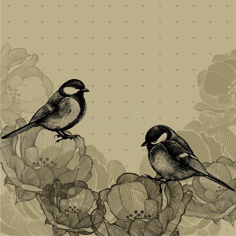 Bloemenachtergrond met rozen en mezen, hand-trekt Vectorillu royalty-vrije illustratie
