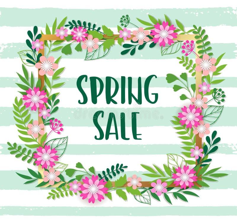Bloemenachtergrond voor de lenteverkoop royalty-vrije illustratie