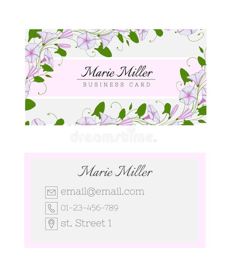 Bloemenadreskaartjemalplaatje Het elegante vrouwelijke ontwerp met bloemen binweed en winde vector illustratie