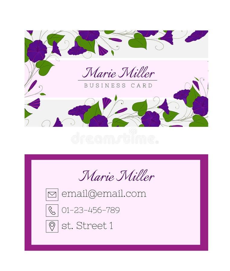 Bloemenadreskaartjemalplaatje Het elegante vrouwelijke ontwerp met bloemen binweed en winde stock illustratie