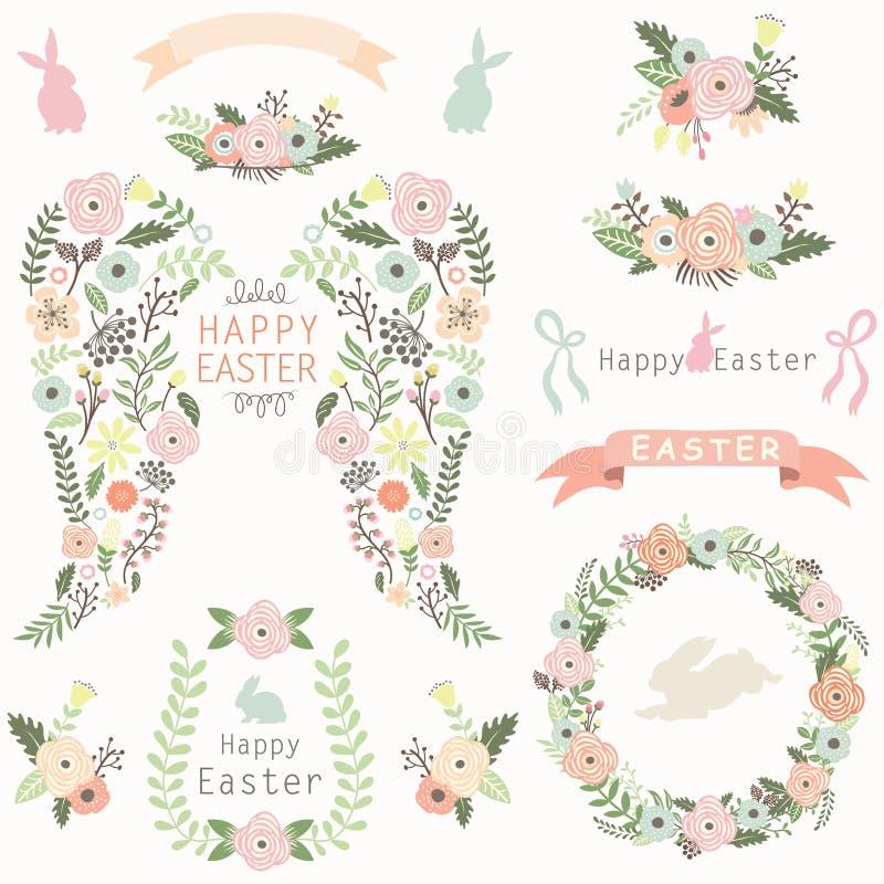 Bloemenangel wing easter elements royalty-vrije illustratie