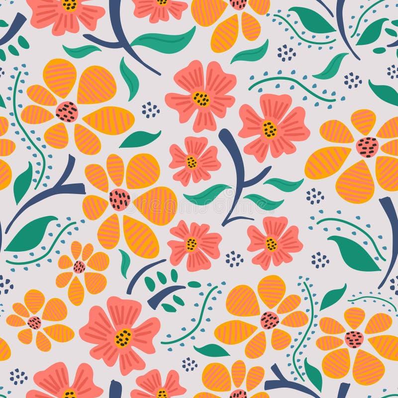 Bloemenbloemhand getrokken naadloos patroon met in kinderachtige tekenings met de hand gemaakte achtergrond royalty-vrije illustratie