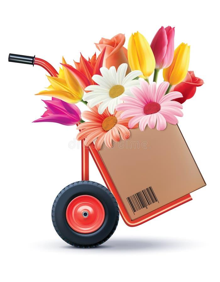 Bloemenboeket in Hand vrachtwagen Creaitiveidee vector illustratie