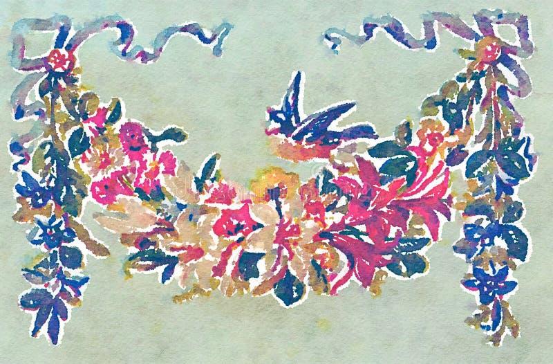 Bloemenboeket met de illustratie van de vogelwaterverf vector illustratie