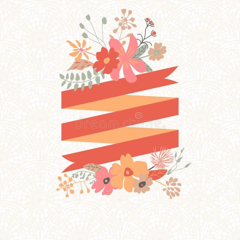 Bloemenboeket met streep voor tekst stock illustratie