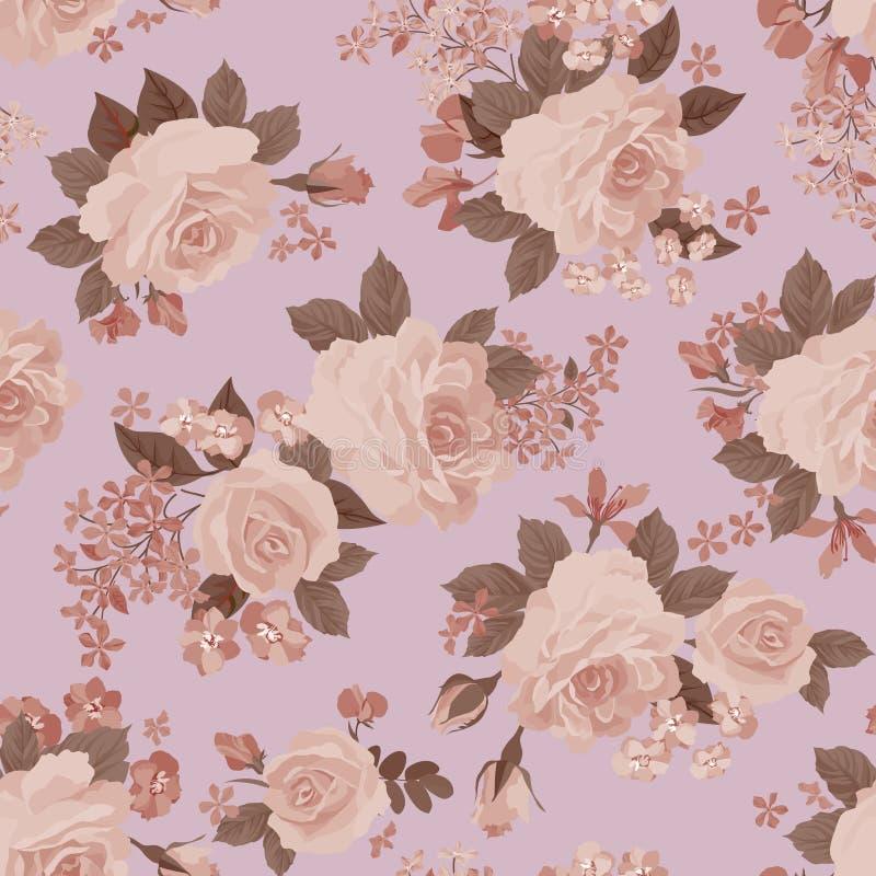 Bloemenboeket naadloos patroon De bloem nam retro achtergrond toe vector illustratie