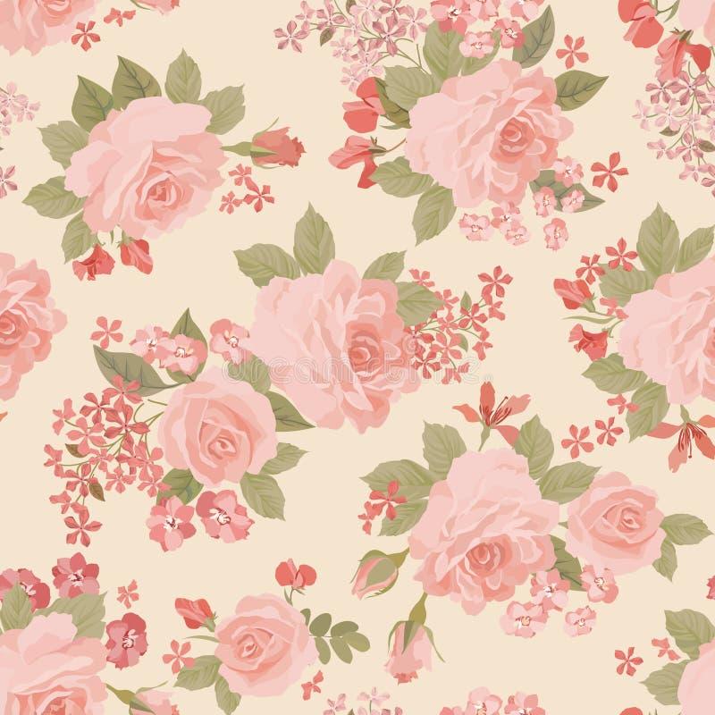 Bloemenboeket naadloos patroon De bloem nam tuinachtergrond toe stock illustratie