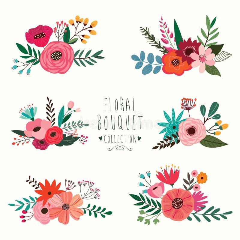 Bloemenboeketinzameling royalty-vrije illustratie