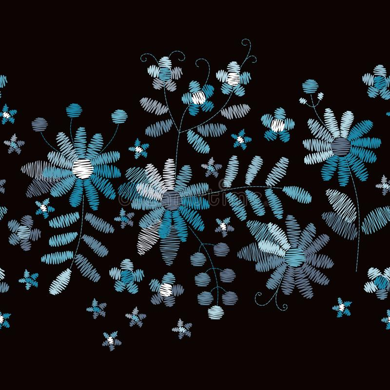 Bloemenborduurwerk Horizontale naadloze grens met blauwe bloemen en bladeren op zwarte achtergrond royalty-vrije illustratie