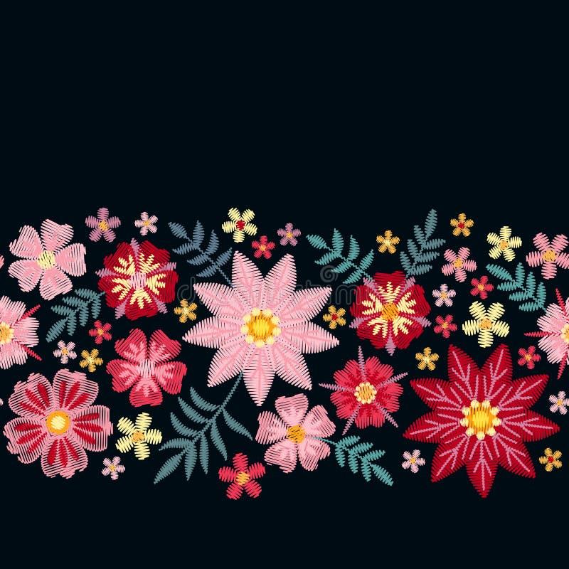 Bloemenborduurwerk Horizontale naadloze lijn met mooie bloemen op zwarte achtergrond Malplaatje voor groet en uitnodigingenkaart vector illustratie