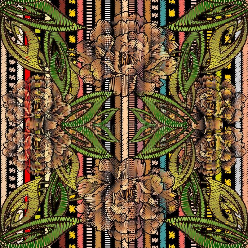 Bloemenborduurwerk vector naadloos patroon Gestreepte kleurrijke band vector illustratie