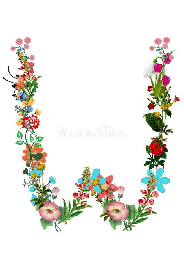 Bloemenbrief W op witte achtergrond Decoratieve die brief van veelkleurige bloemen wordt gemaakt Illustratie stock illustratie