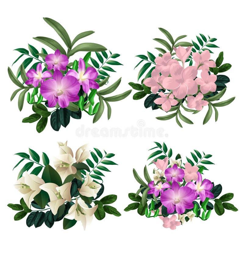 Bloemenbundelreeks vector illustratie