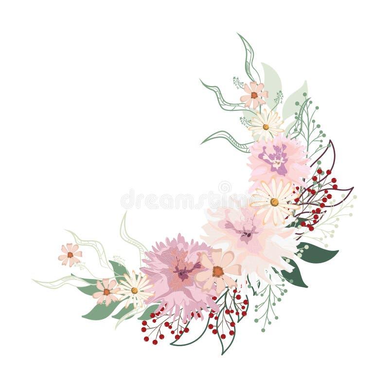 Bloemencirkelachtergrond Ronde de herfstillustratie met bladeren, kruiden, dahliabloemen en bessen vector illustratie