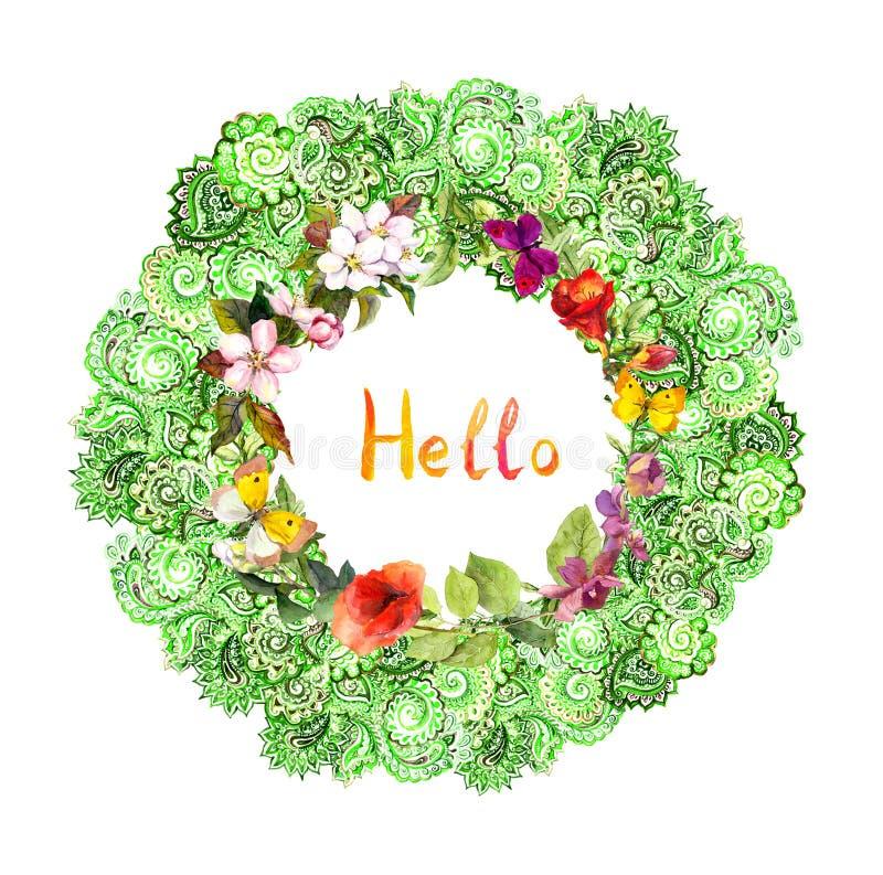 Bloemencirkelgrens - decoratief ornament Weidebloemen, vlinders watercolor stock afbeeldingen
