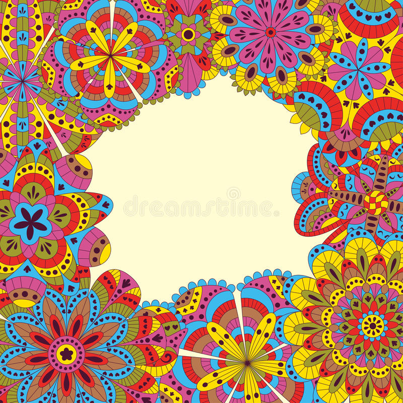 Bloemendieachtergrond van vele mandalas wordt gemaakt Goed voor huwelijken, uitnodigingskaarten, verjaardagen, enz. Creatieve han vector illustratie