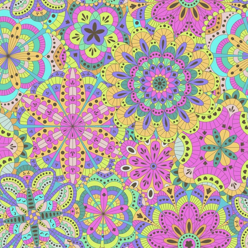 Bloemendieachtergrond van vele mandalas wordt gemaakt Naadloos patroon stock illustratie