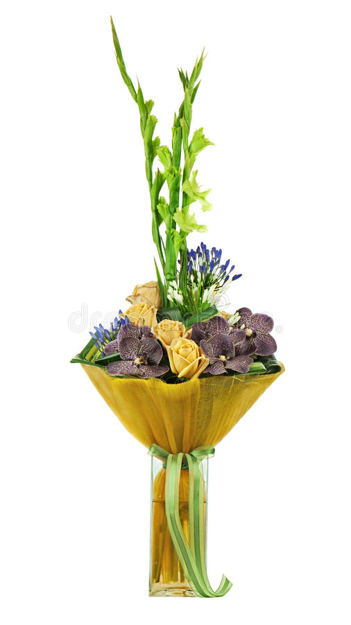 Bloemendieboeket van rozen, gladiolen en orchideeën op wit worden geïsoleerd royalty-vrije stock foto's