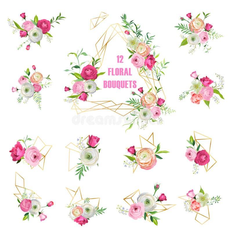 BloemendieBoeketten voor Vakantiedecoratie worden geplaatst De roze Bloemen omhult met Geometrische Elementen voor Huwelijksuitno royalty-vrije illustratie