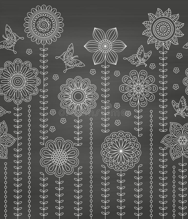 Bloemendiegrensachtergrond van vele krabbelbloemen en vlinders wordt gemaakt Naadloos patroon vector illustratie