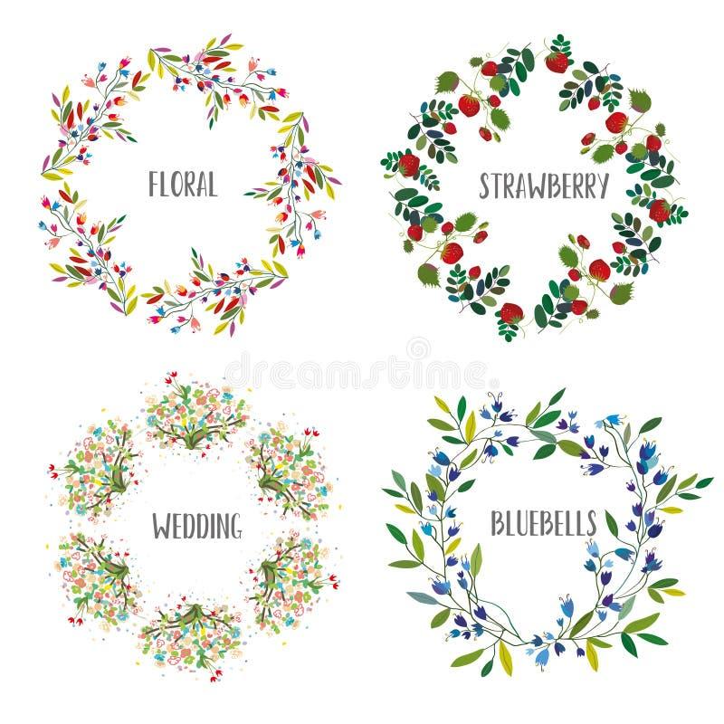 Bloemendiekroon met verschillende bloemen en bessen voor de kaarten, het huwelijk of de vakantie wordt geplaatst Vector illustrat vector illustratie