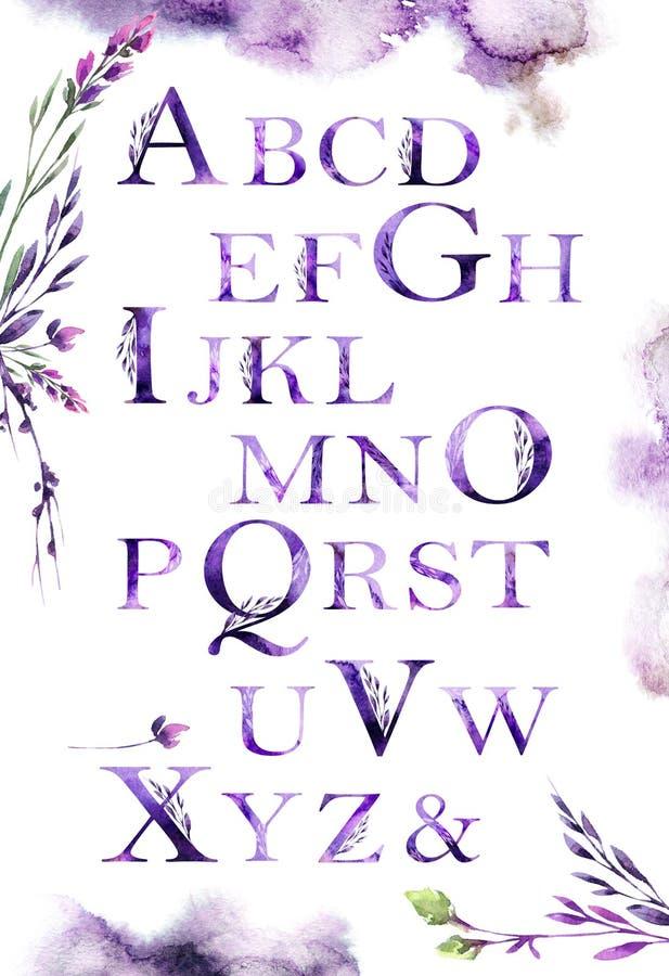 Bloemendielettersoort in violette schaduwen wordt geplaatst Affiche hoofdletters van de Latijn De artistieke doopvont van het wat stock illustratie