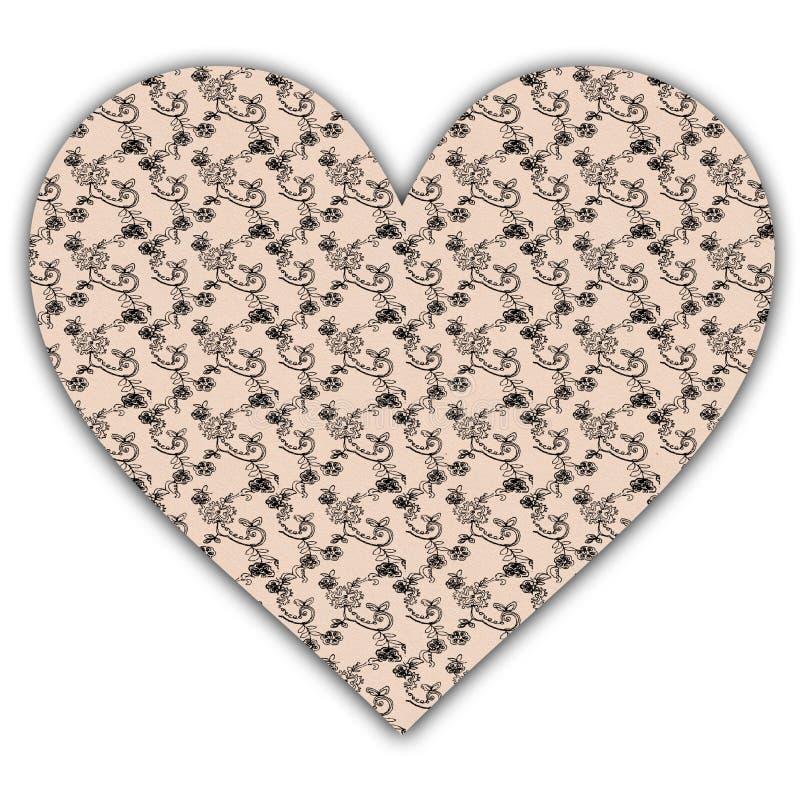 Bloemendocument hart royalty-vrije illustratie