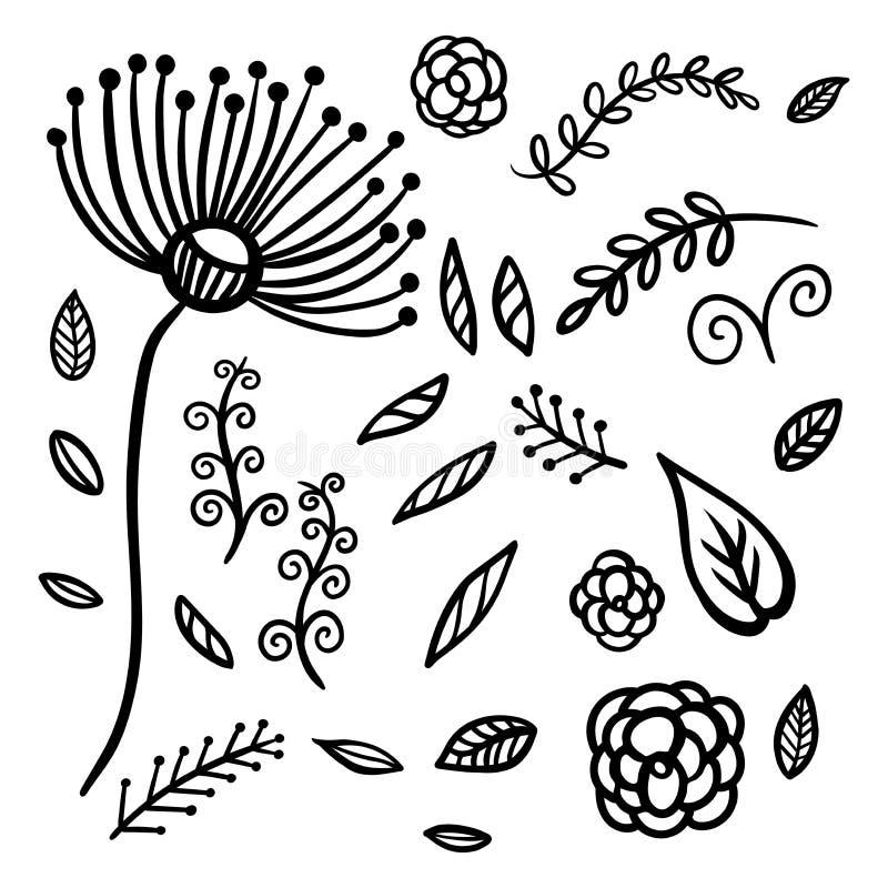 Bloemenelementen met paardebloem, twijgen, bloemen, bladeren royalty-vrije illustratie