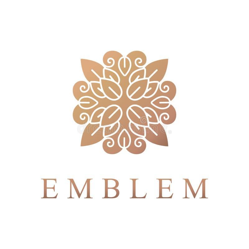 Bloemenembleem Het pictogram van de bloem Bloemenembleem Schoonheidsmiddelen, Kuuroord, Schoonheidssalon, Decoratie, Boutiqueembl royalty-vrije stock afbeeldingen