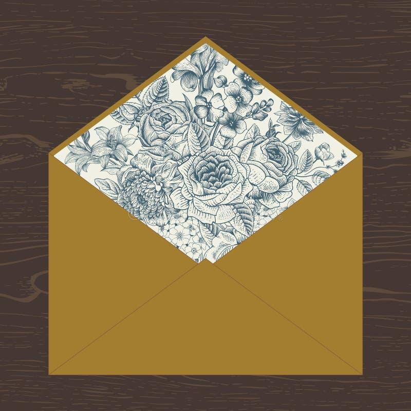 Bloemenenvelop stock illustratie