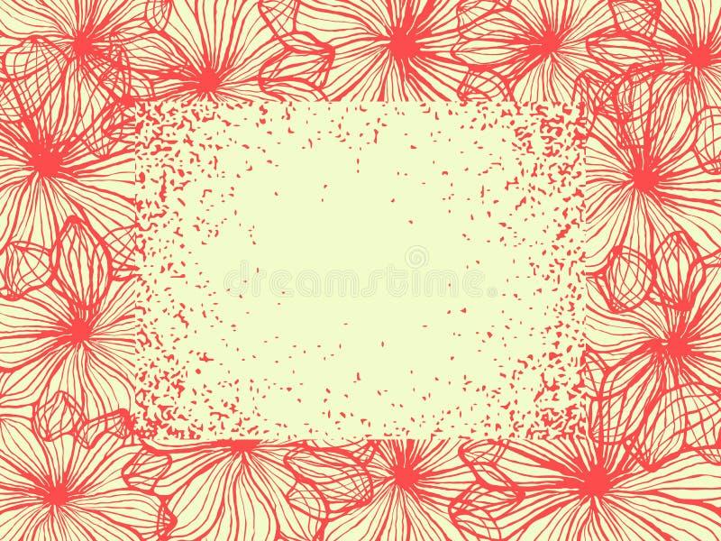 Bloemenexemplaarruimte, die van rode plumeriabloemen ontwerpen stock illustratie