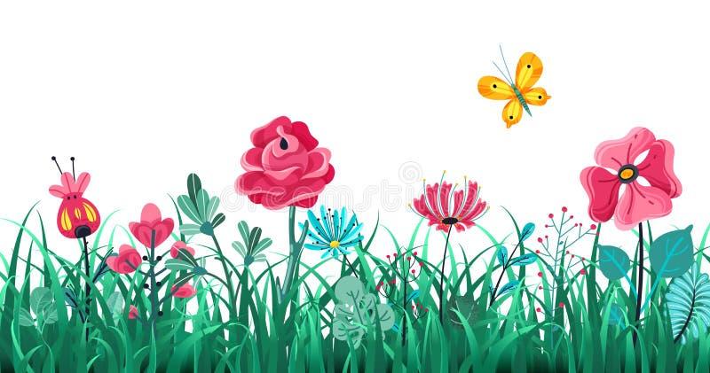 Bloemengrasgrens De groene bloemen springen gebied, de aard van de de zomerweide, macro het elementen vectorconcept van panoramak stock illustratie
