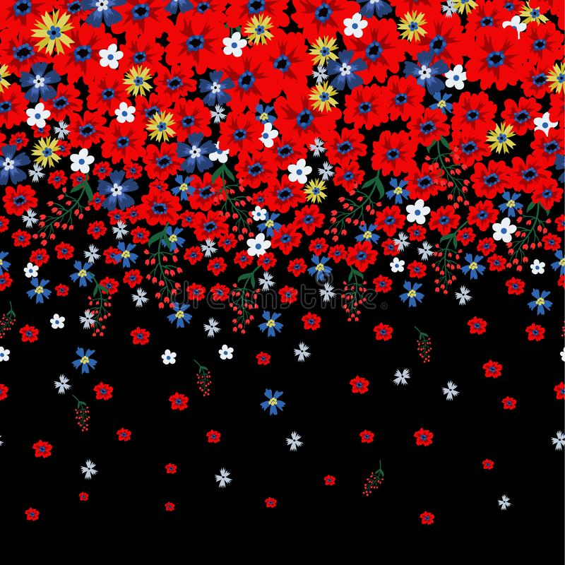 Bloemengrens met leuke kleine ditsy bloemen Vector illustratie vector illustratie