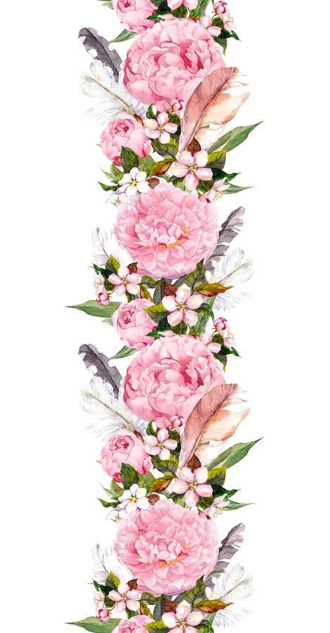 Bloemengrens met roze pioenbloemen, kersenbloesem en vogelveren Het herhalen van bohobanner watercolor royalty-vrije illustratie