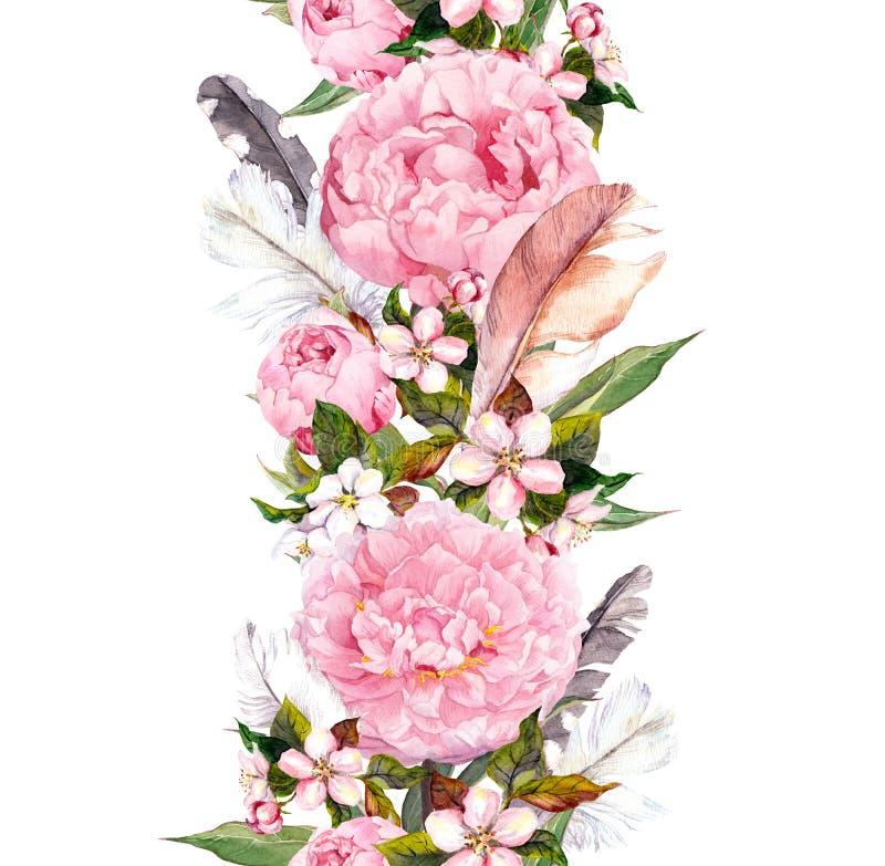 Bloemengrens met roze pioenbloemen, kersenbloesem en vogelveren Uitstekende naadloze streep in bohostijl stock illustratie