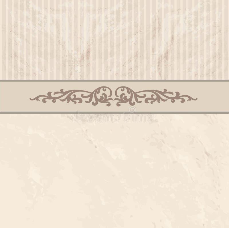 Bloemengrens op uitstekende achtergrond Oude document textuur royalty-vrije illustratie