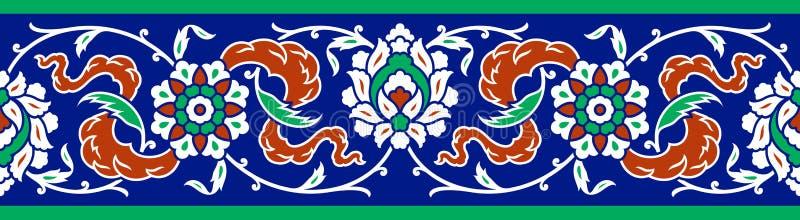 Bloemengrens voor uw ontwerp Traditioneel Turks ï ¿ ½ Ottomane naadloos ornament Iznik stock illustratie