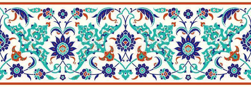 Bloemengrens voor uw ontwerp Traditioneel Turks ï ¿ ½ Ottomane naadloos ornament Iznik royalty-vrije illustratie