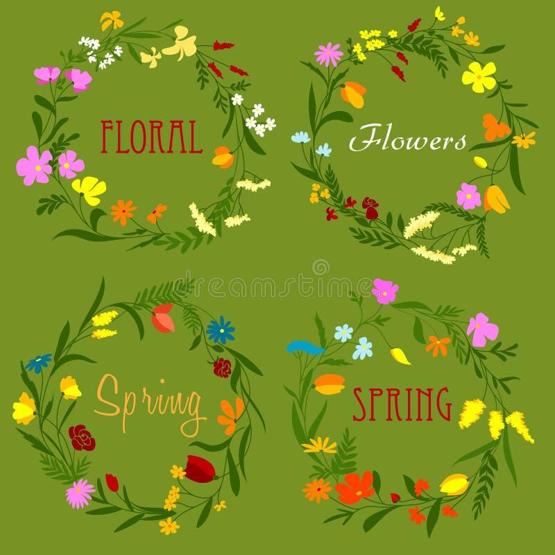 Bloemengrenskaders met wildflowers en kruiden vector illustratie