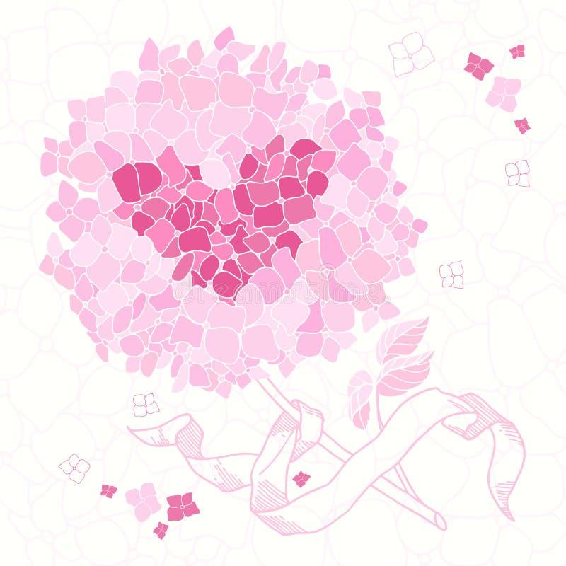Bloemengroetkaart met een hartsymbool De uitnodiging van het huwelijk Gr. stock illustratie