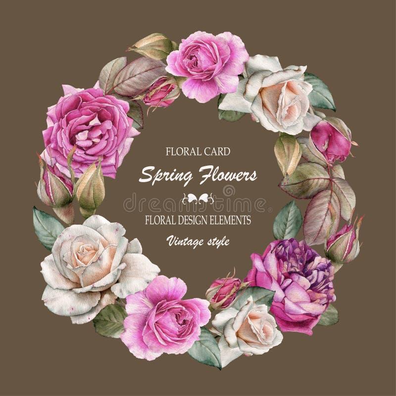 Bloemengroetkaart met een kader van waterverfrozen Boeket van bloemen vector illustratie