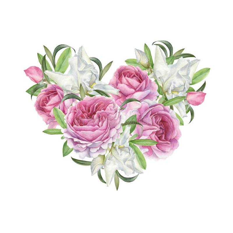 Bloemengroetkaart met hart van bloemen stock illustratie