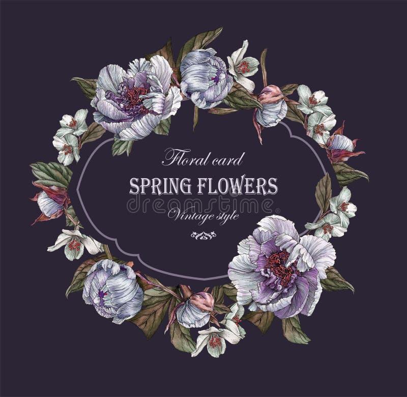 Bloemengroetkaart met kader van pioenen en jasmijn royalty-vrije illustratie