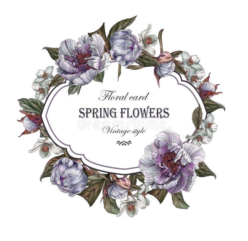 Bloemengroetkaart met kader van pioenen en jasmijn vector illustratie