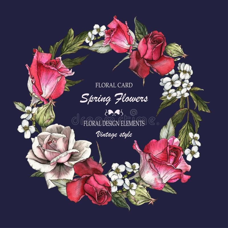 Bloemengroetkaart met rozen en jasmijn Boeket van bloemen royalty-vrije illustratie